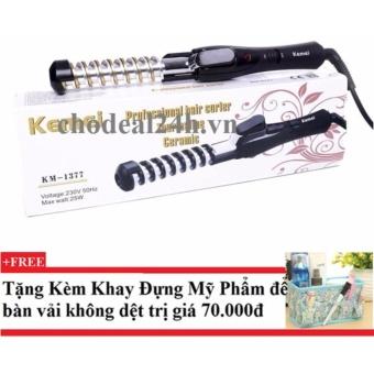 Máy uốn tóc xoắn ốc kemei Km-1377 + Tặng kèm khay đựng mỹ phẩm để bàn