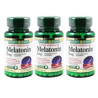 Bộ 3 hộp viên uống hỗ trợ giấc ngủ Nature's Bounty Super Strength Melatonin 5mg 60 viên