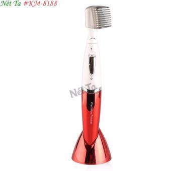 Máy cạo lông tỉa lông toàn thân dùng pin tiện lợi Kemei KM-8188 (Màu đỏ phối trắng)