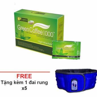 Trà Giảm Cân, Trà Tan Mỡ Bụng Green Coffee 1000 + Tặng 1 Đai Rung Tan Mỡ - Giá Sốc Giá Sốc