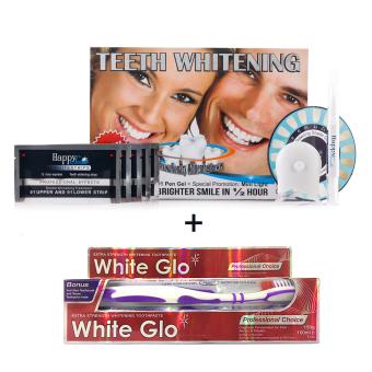 Bộ sản phẩm có đèn led làm trắng răng HappySmile và Kem đánh răng White Glo - Tigo