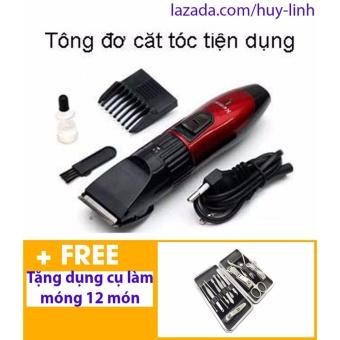 Tông đơ cắt tóc cho trẻ em ( Đỏ phối đen ) + Free dụng cụ làm móng 12 món