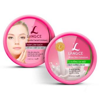 Bộ ủ dưỡng da mặt sữa non 145g và kem tẩy tế bào chết da mặt LANGCE 145g