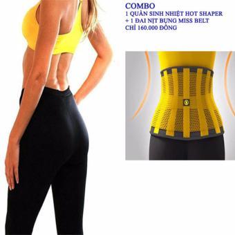 Combo bộ đai nịt bụng miss belt và quần sinh nhiệt Hot Shaper