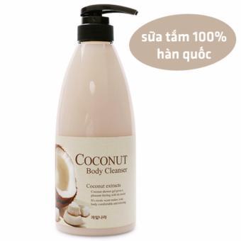 Sữa tắm chiết xuất từ trái dừa làm trắng và mịn da Welcos Coconut Body Cleanser Hàn Quốc 740ml - Hàng Chính Hãng