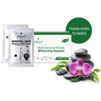 Bộ kem tắm trắng Vitamin C và thảo dược Sakura Multivitamin & Herbals Whitening System 2 gói (Xanh)