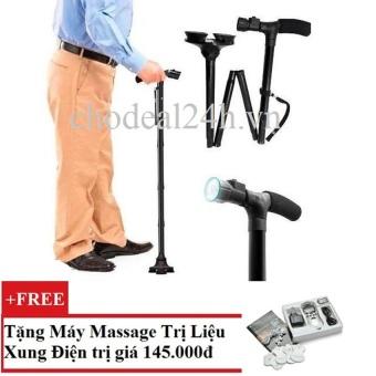 Gậy đa năng dành cho người già có đèn pin + Tặng Máy mát-xa xung điện trị liệu SYK 208 4 miếng dán (Trắng)