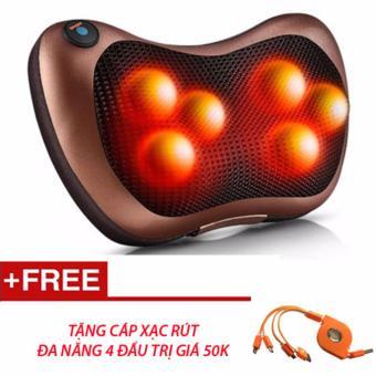 Gối mát-xa Massage 6 bi hồng ngoại + tặng cáp rút 4 đầu (Nâu)