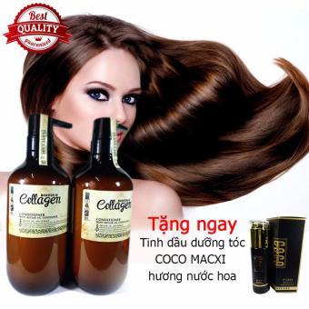 Cặp dầu gội xả Collagen Mefaso Italy (800mlx2) + Tặng ngay 1 chai tinh dầu dưỡng tóc COCO MACXI hương nước hoa Macco Mart