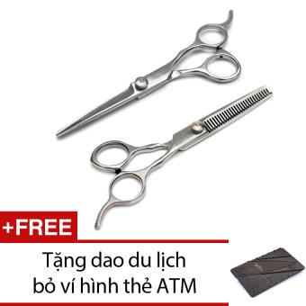 Bộ 2 kéo cắt và tỉa tóc có hộp đựng + Tặng 1 dao du lịch bỏ ví hình thẻ ATM (xám)