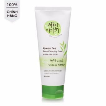 Sữa rửa mặt tinh chất trà xanh làm sạch và dưỡng ẩm da Welcos Green Tea Deep Cleansing Foam Hàn Quốc 120ml - Hàng Chính Hãng