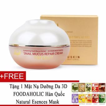 Kem dưỡng da tinh chất ốc sên Beauskin Snail Mucus Intensive Cream 50g + Tặng 1 mặt nạ dưỡng da 3D FOODAHOLIC Hàn Quốc natural esences mask