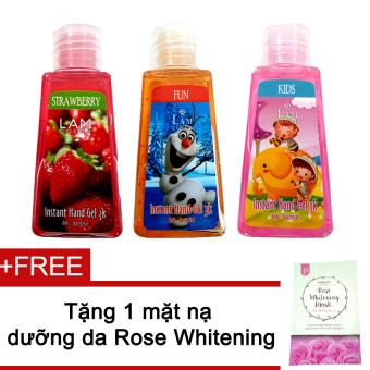 Bộ 3 gel rửa tay Lamcosme 60ml (Strawberries, Fun, Kids) + Tặng mặt nạ Rose Whitening Mask