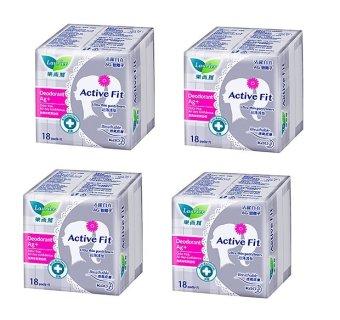 Bộ 4 gói Băng Vệ Sinh Hằng Ngày Laurier Active Fit Phân Tử Bạc Khử mùi Kháng khuẩn 18M