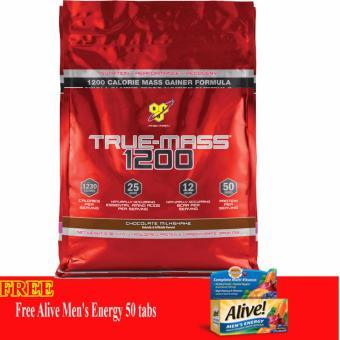 Thực phẩm Bổ sung Tăng cân Truemass 1200 Chocolate Milkshake 10.38Lb + Tặng Alive Men's Energy 50 Viên