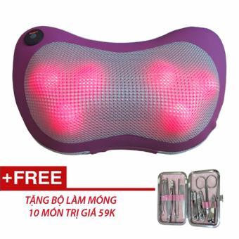 Gối mát-xa Massage Pillow PL818 + Tặng bộ làm móng 10 món (Tím)