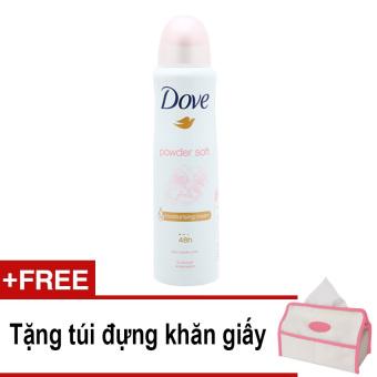 Xịt ngăn mùi Dove Powder Soft 150ml + Tặng túi đựng khăn giấy
