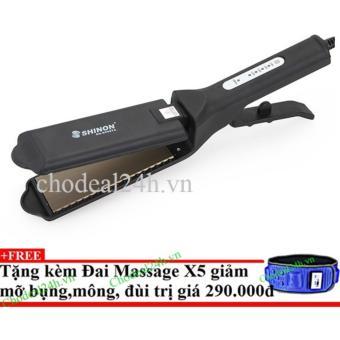 Máy ép tóc Bản Lớn Shinon 8998(đen) + Tặng đai massage x5 giảm mỡ
