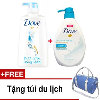 Bộ sản phẩm Dove gồm dầu gội dưỡng tóc bồng bềnh 650g và sữa tắm tẩy tế bào chết 530g + Tặng túi du lịch