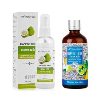 Bộ Serum bưởi dưỡng tóc Milaganics 100ml và Lotion Bưởi Phục hồi tóc hư tổn Milaganics 100ml