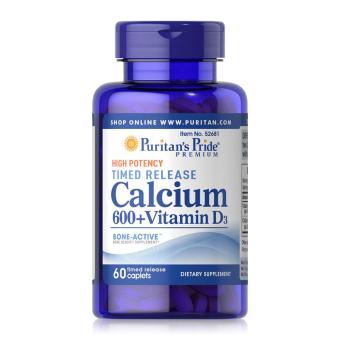 Viên uống bổ sung Canxi và Vitamin D3 Puritan's Pride Calcium 600+ Vitamin D3 Timed Release 60 viên 52681