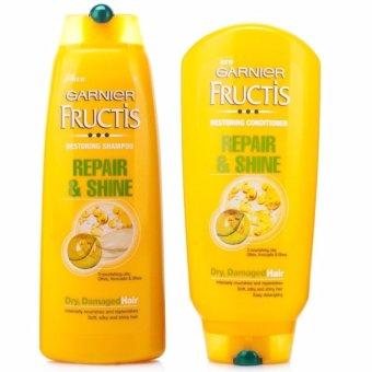 Bộ gội xả chăm sóc tóc hư tổn Garnier Fructis Repair Shine 250mlx 2 - Italy