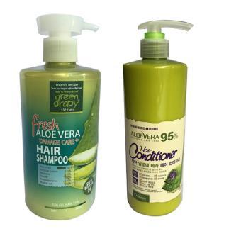 Bộ dầu gội dành cho tóc hư tổn từ nha đam 500g Green Graphy và dầu xả nha đam Organia 500ml