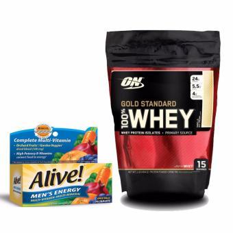 Bộ Gold Standard Whey 1lb Vanilla Ice Cream + Alive Men's Energy 50 tabs