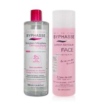 Bộ 1 Nước tẩy trang Byphasse Micellar Make-up Remover Solution 500ml + Nước hoa hồng dưỡng da Byphasse Face Soft Toner Lotion 500ml