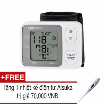 Máy đo huyết áp cổ tay tự động Omron HEM-6131 (Trắng)+Tặng 1 nhiệt kế Alsuka