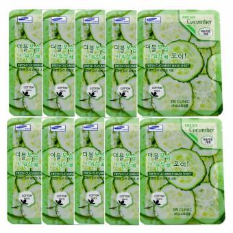 Bộ 10 gói mặt nạ dưỡng ẩm da 3W Clinic Fresh Cucumber Jelly Mask Sheet chiết xuất dưa leo 23ml X 10