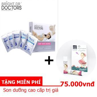 Bộ tắm trắng an toàn hiệu quả 5 in 1 Bright Doctors Body While Shower 30g Tặng kèm 1 son dưỡng môi mềm mịn