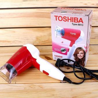 Máy Sấy Tóc Mini gấp gọn Toshiba 8813 (Hồng phối trắng)