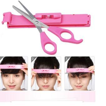 Bộ dụng cụ kéo và thanh cắt tóc mái tiện dụng (Hồng)