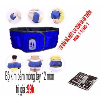 Đai masage đặc trị vùng bụng X5 (xanh) + Bộ kìm bấm móng tay 12 món