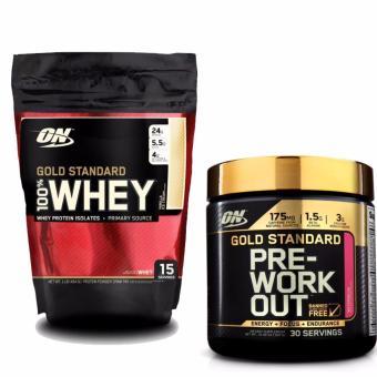 Gold Standard 100% Whey 1lb Vanilla Ice Cream và Gold Pre-Workout 300g Watermelon