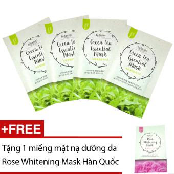 Bộ 4 mặt nạ Bidanmi Green Tea Essential + Tặng mặt nạ Rose Whitening