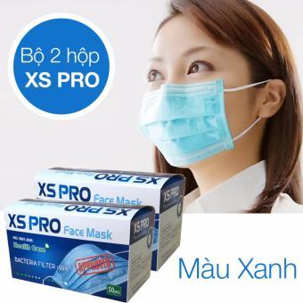 Bộ 2 Hộp khẩu trang y tế 3 lớp XS Pro Hộp 50 chiếc (Xanh)
