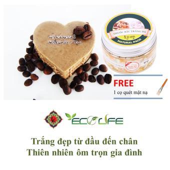 Combo xà phòng rửa mặt trị mụn cà phê ( Hình trái tim ) và bột trắng da thuốc bắc Ecolife