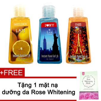 Bộ 3 gel rửa tay Lamcosme 60ml (Sweetmelon, Iny, Paris) + Tặng mặt nạ Rose Whitening Mask