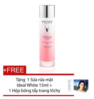 Dung dịch cân bằng Vichy Idealia Lumiere Lotion 100ml + Tặng sữa rữa mặt Vichy Ideal White Foam 15ml + Hộp bông tẩy trang Vichy