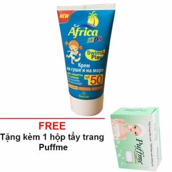 kem chống nắng cho trẻ africa Nga SPF 50 + tặng kèm 1 hộp bông tẩy trang Puffme