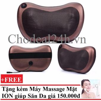 Gối mát-xa hồng ngoại Massage Pillow + Tặng Máy massage mặt dưỡng da ION (Trắng)
