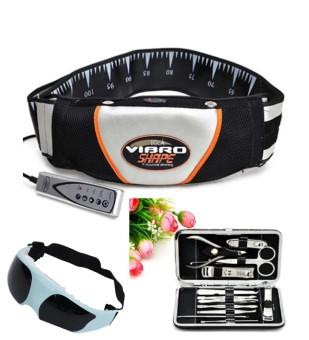 Đai massage bụng Vibro Shape (Đen) + Kìm bấm móng tay đa năng + Kính mát xa mắt