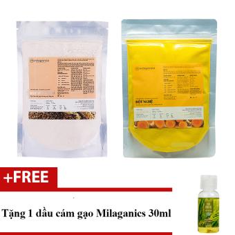 Bộ 1 bột yến mạch 200g và 1 bột nghệ 200g Milaganics dưỡng da từ thiên nhiên + Tặng 1 dầu cám gạo 30ml