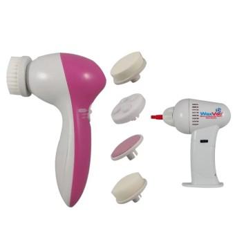 Bộ 1 Máy rửa mặt mát-xa chăm sóc da mặt 5 trong 1 (Hồng) và 1 máy vệ sinh tai
