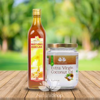 Bộ dầu dừa tinh khiết 220ml + Mật ong nguyên chất 720gram