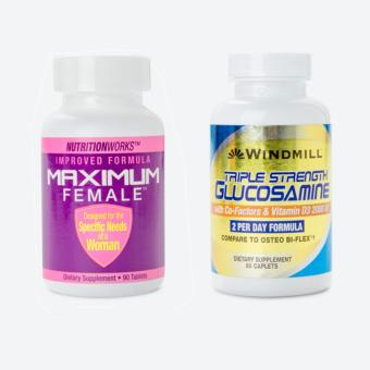 Bộ Sản Phẩm Chăm Sóc Sức Khỏe Maximum Female Và Triple Strength Glucosamine