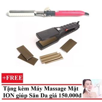 Bộ 1 máy bấm tóc 4 kiểu và 1 máy uốn tóc Setting + Tặng Máy massage mặt DS-039 bằng ion (Trắng)