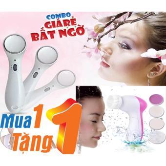 COMBO Máy massage mặt thẩm thấu kem dưỡng và Máy mát-xa chăm sóc da mặt 5 trong 1 Beautycare